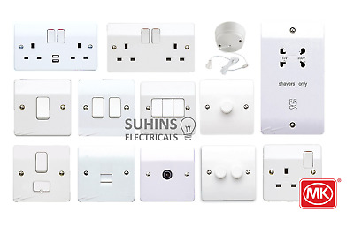 MK Logic Plus Electrical Sockets And Switches White Gloss Moulded USB Full Range • 12.95£