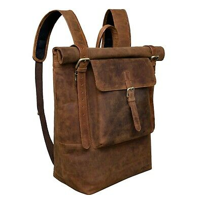 STILORD 'Chris' Leather Backpack Roll Top Men Women For Laptop A4 Size Large ... • 373.24£