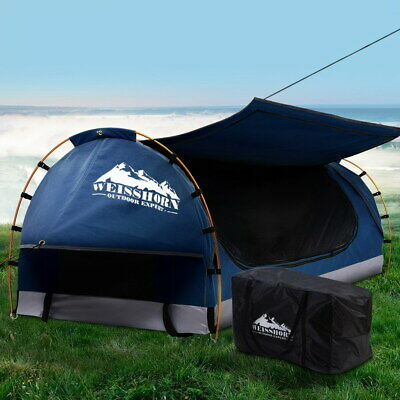 AU217.90 • Buy Weisshorn Swag King Single Camping Swags Canvas Free Standing Dome Tent Blue