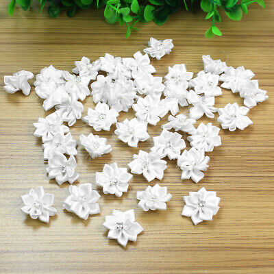 40 Pcs Satin Ribbon Flowers Appliques Craft Wedding Party Sewing DIY Decoration • 2.99£