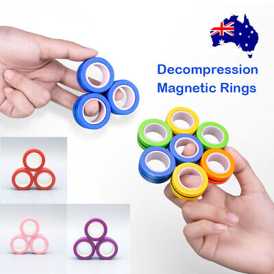 AU8.15 • Buy Magnetic Rings FinGears Anti-stress Finger Toy Rotating Magnetic Ring AU 3pc/Set
