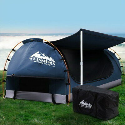 AU248.90 • Buy Weisshorn Double Swag Camping Swags Canvas Free Standing Dome Tent Dark Blue
