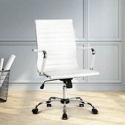 AU160.90 • Buy Artiss PU Leather Lift Office Chair Executive Computer Replica Desk Chairs White