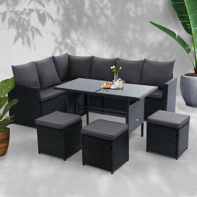 AU790.90 • Buy Gardeon Outdoor Furniture Dining Setting Sofa Set Lounge Wicker 9 Seater Black