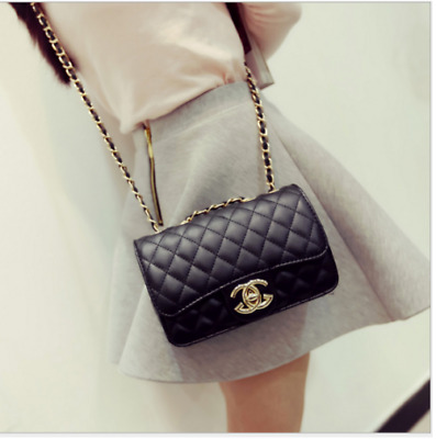 Hot New Women Quilted Chain Bag Pu  Leather Shoulder Crossbody Handbag Messenger • 13.19£