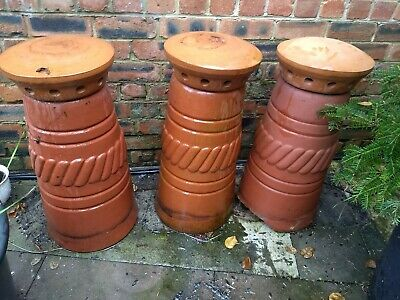 3 Terracotta Clay Pot Chimney, Or Will Also Split • 120£