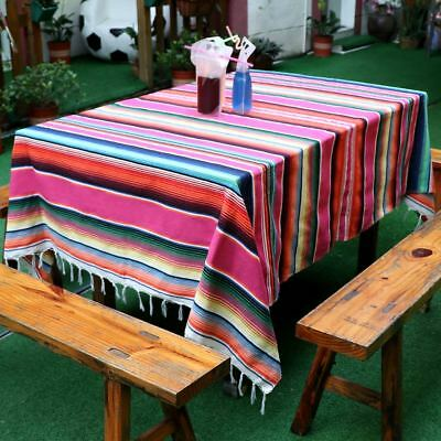 Large Mexican Serape Tablecloth Blanket Yoga Throw Rug Saltillo Table Runner • 15.59£