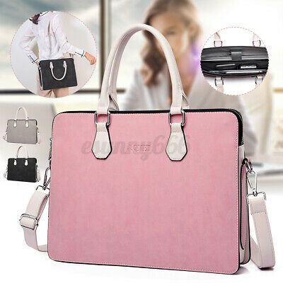UK Women Leather Briefcase Shoulder Bag 15.6'' Laptop Tote Lady Travel Handbag • 22.57£