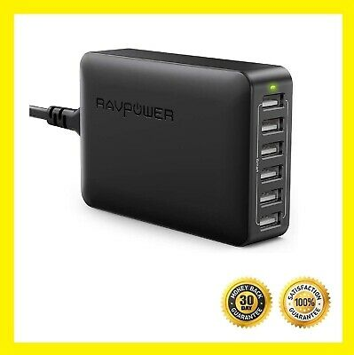 AU51 • Buy RAVPower 60W 12A 6-Port USB Charger Desktop Charging Station With ISmart (black)