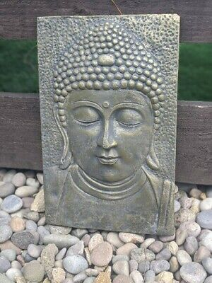 Large Stone Garden Ornament Thai Buddha Plaque Bronze Statue Figure 35cm High • 34.99£