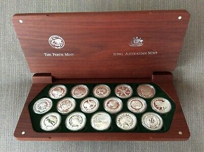 2000 Sydney Olympic 16 X 1oz Silver Proof Coin Set In Wooden Display Case • 730£