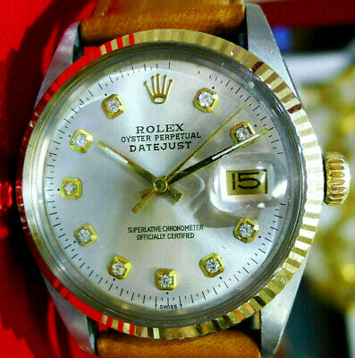 $ CDN5479.43 • Buy Mens Vintage ROLEX Oyster Perpetual Datejust 36mm Gold DIAMOND Dial Watch