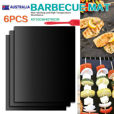 AU20.79 • Buy 6X BBQ Grill Mat Non-Stick Oven Liners Teflon Cooking Baking Reusable Sheet Pad