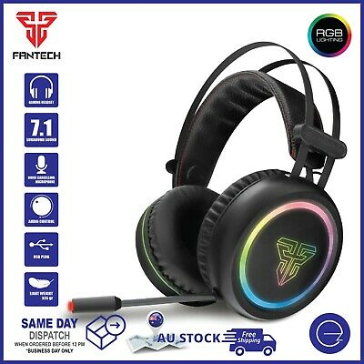 AU39.95 • Buy Gaming USB PC Computer Headset Noise-Cancel Mic 7.1 Surround Sound RGB Headphone