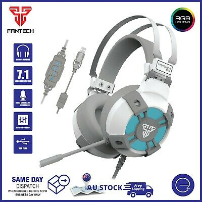 AU49.50 • Buy Fantech USB Gaming Computer Headset Noise-Cancel Mic 7.1 Sound RGB PC Headphone