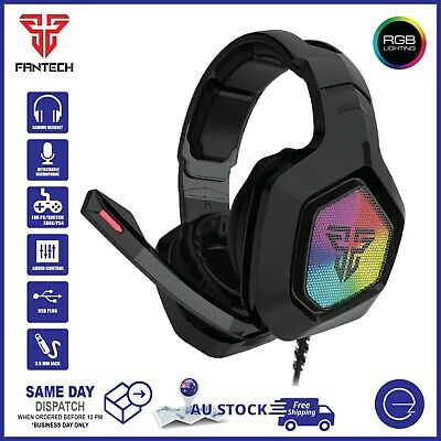 AU39.95 • Buy Fantech Gaming Headset 3.5mm TRRS RGB Headphone Mic For Switch Xbox PS4 Mobile