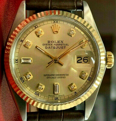 $ CDN6095.15 • Buy Mens Vintage ROLEX Oyster Perpetual Datejust 36mm Gold Dial DIAMOND Watch