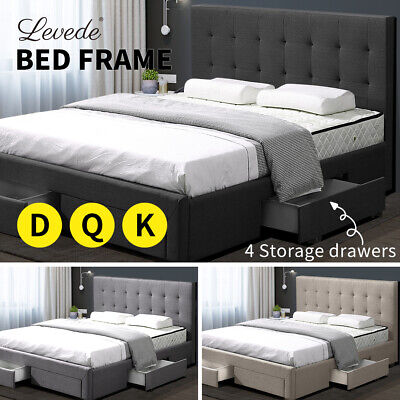 AU389.99 • Buy Levede Bed Frame Double Queen King Fabric With Drawers Storage Wooden Mattress