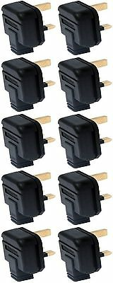 Heavy Duty Rubber Permaplug Hard Plug Top Black 13A Fused 3 Pin Pack Of 10 • 15.92£