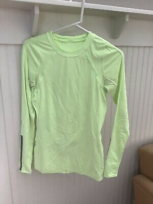 $ CDN36.38 • Buy Lululemon Run Layer Me Long Sleeve Faded Zap Green Yellow Size 4 Small