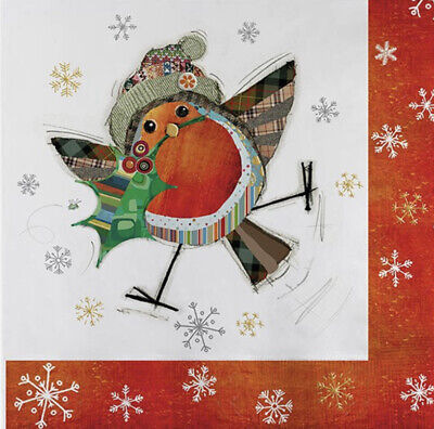 5 Paper Party Napkins  Holly Robin Pack Of 5 3 Ply Tissue Serviettes Birds • 2.50£