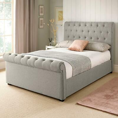 Chester Grey Fabric King Size 5ft Bed Upholstered Frame Button Detail Headboard • 295£