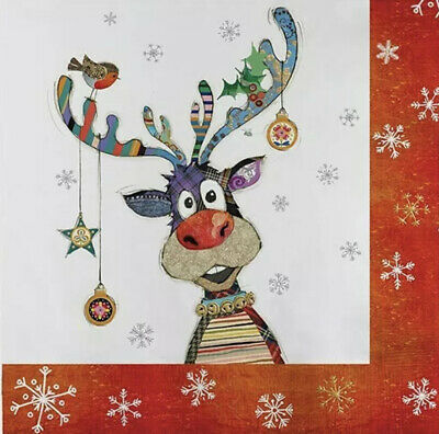 5 Paper Party Napkins Rudolph Reindeer Pack Of 5 3 Ply Christmas Serviettes • 2.50£