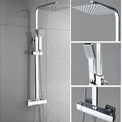 £55 • Buy Thermostatic Shower Mixer Exposed Bathroom Twin Head Square / Round Bar Set