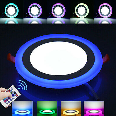 Dual Color LED Panel Recessed Ceiling Down Light Spotlights Round Cool White RGB • 8.59£