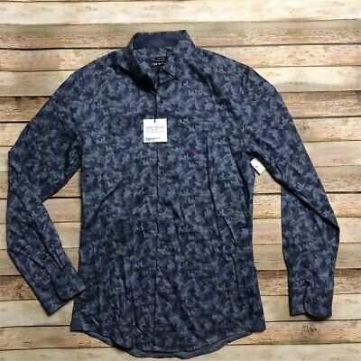 $11 • Buy Bar III Mens Camo Blue Button Up Shirt Slim Fit Untucked S 14 14.5 32 33