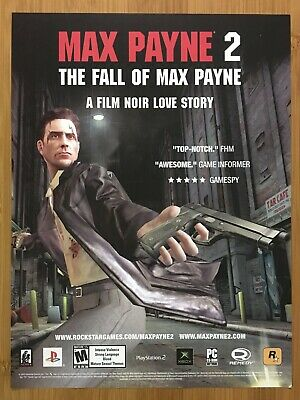 Max Payne 2 The Fall Of Max Payne PS2 Xbox 2004 Vintage Print Ad/Poster Official • 11.01£