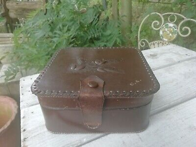 Vintage Art Deco Tooled Leather Box Case Embossed Fir Pine Cones & Initials C.A • 25£