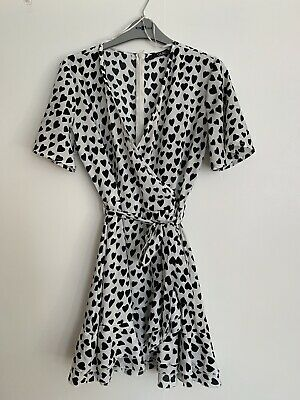 Quiz Size 10 Black And White Heart Polka Dot Wrap Dress With Sleeves • 16£