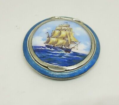Silver Blue Guilloche Enamel Powder Compact Hand Painted Galleon Gilt Interior • 235£