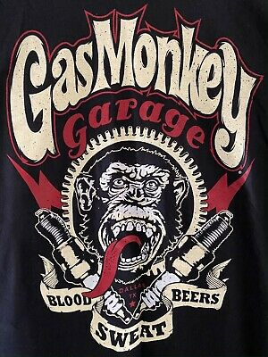 New Gas Monkey Garage Mens T Shirt Official Xxl Blood Sweat Beers Spark Plugs • 11.99£
