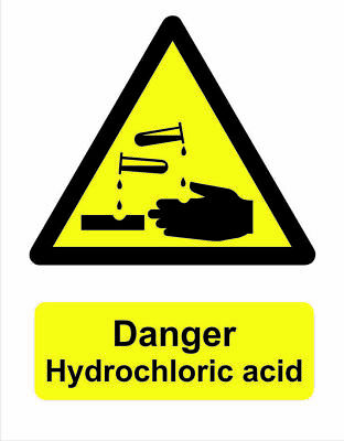 £1.75 • Buy Yellow Safety Sign Adhesive Gloss Vinyl Sticker Decal Danger Hydrochloric Acid