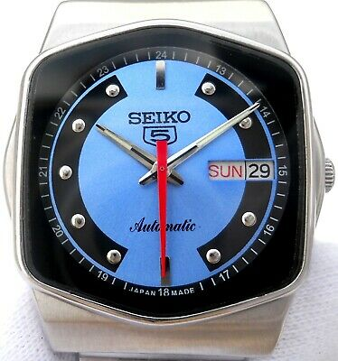 $ CDN65.69 • Buy Vintage Japan Seiko 5 Automatic Gorgeous Sky Blue Classic Day Date Mens Watch.