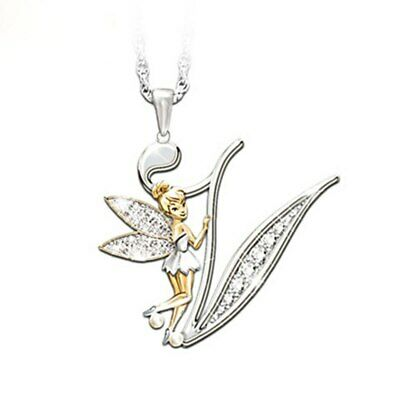 Stunning Tinkerbell Fairy Alphabet Letter  V   Pendant Necklace With Organza Bag • 2.99£