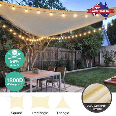 AU49.40 • Buy AU Square Triangle Rectangle Outdoor Waterproof Sun Patio Shade Sail Grey Canopy
