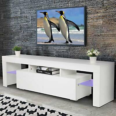 High Gloss LED RGB TV Cabinet Stand With Glass Shelves & Drawer Storage Unit • 71.99£