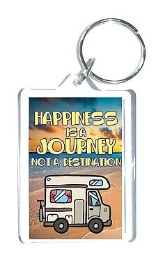 £3.25 • Buy Motorhome Lovers Gift - Happiness Is A Journey Not A Destination Novelty Keyring