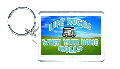 £3.25 • Buy Motorhome Lovers Gift - Life Rocks When Your Home Rolls - Novelty Keyring