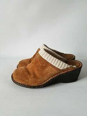 Ugg Gael UK 7.5 Chestnut Suede Wedge Clogs Mule Shearling Lined Knit Cuff Shoes • 29.99£