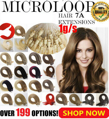 £20.30 • Buy Micro Ring Beads Link Loop Hair Extensions Double Drawn Remy Human Hair Thick 1g