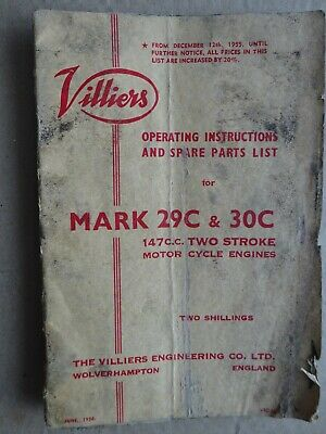 Villiers 29/30C Motorcycle Engines - Operating Instructions & Spare Parts List • 5£