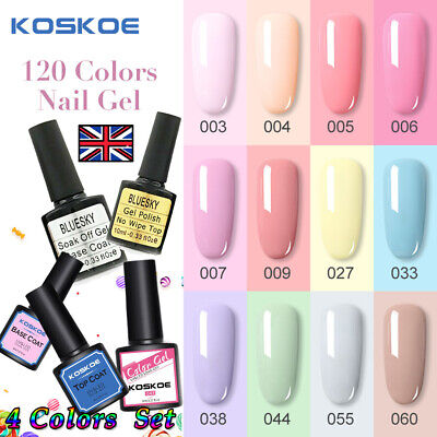 4PCS/SET Gel Polish KOSKOE French Neon Glitter Salon Nail Varnish Kit Bluesky*UK • 4.99£