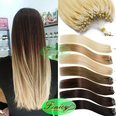 Micro Ring Beads Loop Tip Hair Extensions Russian Real Human Hair Remy Straight • 16.57£