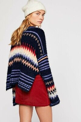 Free People Fair Isle Blue Slouchy Knit Jumper Size Small NEW • 72£