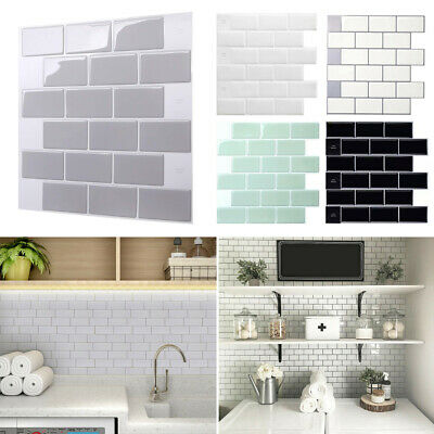 Self Adhesive Kitchen Wall Tiles Bathroom Mosaic Brick Stickers Peel & Stick New • 6.55£