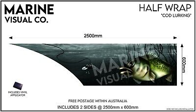 AU395 • Buy Murray Cod Half Boat Wrap To Suit Tinny Quintrex Fishing Savage Sticker Decal